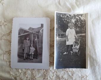 Girls with Dolls - Set of 2 Vintage Found Photos - Antique Snapshots Toys Carriage Children