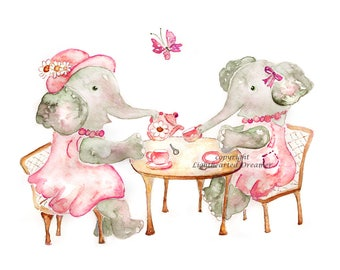 Choose Color, Girl's Nursery Print, elephant nursery art, tea party print, yellow, teal, pink baby decor, Nursery Decor, baby girl nursery