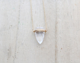 Crystal Quartz Triangle Necklace, Gold Filled Tooth Geometric Necklace, Tribal Fashion - Finn (As Seen on Candice Accola)