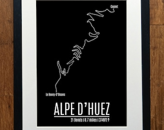 Alpe D'Huez Cycling Print - Strava - GPS - Various Sizes