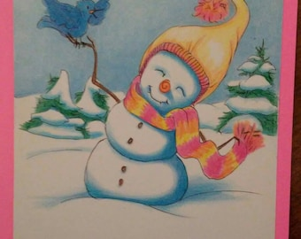 Snowman and singing bird 5x7 printed greeting card