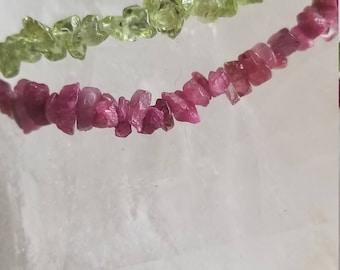 Pink tourmaline and peridot strand