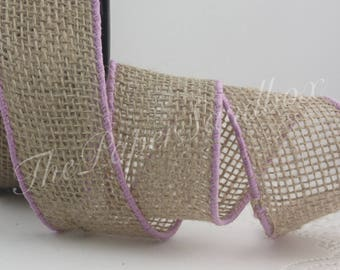 """Wired Lavender Bordered Burlap Ribbon, 2"""" wide"""