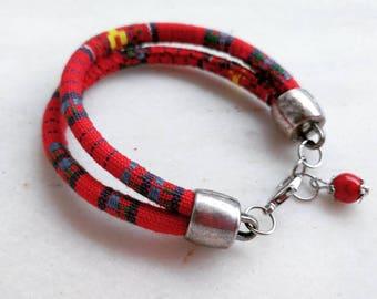 Double textile bracelet with howlite bead  friendship bracelet charm red blue yellow