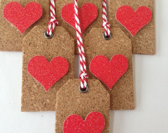 mini valentine cork tags