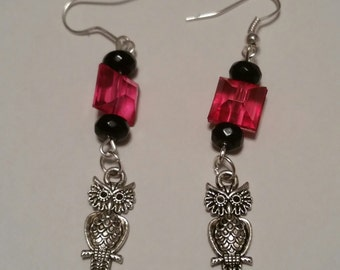 Owl Earrings red and black beads Sterling silver hooks rubber stoppers jewelry