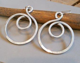 Big Hoop Earrings, Swirl Hoops, Big Earrings Light Weight Aluminum Wire, Gift for Her Large Bold Hoop Earrings, Hammered Metal, Women