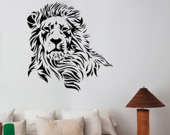 Lion Wall Decal Removable Vinyl Sticker Wildlife Art Animal Decorations for Home Housewares Kids Living Room Bedroom Decor ln4
