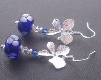 Floral murano glass and silver beads earrings