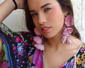 Statement Earrings, Paper Flowers Earrings, Dangle Earrings, Paper Jewelry, Design Jewelry, Gift Ideas, Boho, Flower Girl, Hippie
