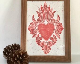 Sacred Heart print - A4 hand printed linocut