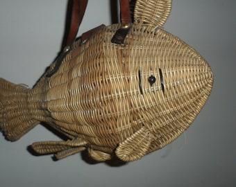 wicker fish purse  mister  simon style wicker  figural purse