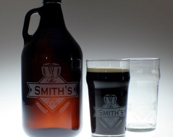 Personalized Beer Growler & 2 glass set with Diamond and Banner art , wedding gift , personalized growler, custom Beer Glass,Beer Gift, Beer