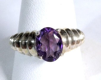 Vintage Avon Sterling Silver Genuine Amethyst Shrimp Ring - Size 8 ~~ Prong Set