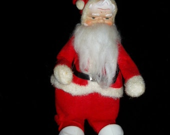 "60s Japan Rubber Face Santa Figure 12"" Retro Christmas Decor"