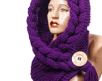 Hooded Scarf, Scarf, Hood, scarf hooded, Chunky scarf, Wool cowl | 556