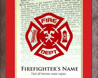 Firefighter's  Framed Personalized Print Hero Dictionary Art