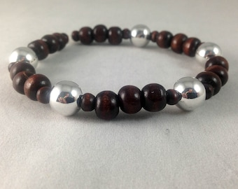Chocolate Wood and Silver Bracelet, Chocolate Wood Stretch Bracelet, Silver and Wood Stretch Bracelet, Wooden Bracelet, Layer Bracelet