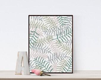 Fern print, PRINTABLE art, Botanical print, Fern art, Botanical illustration download, Fern leaf, Pattern wall art, Botanical pattern print