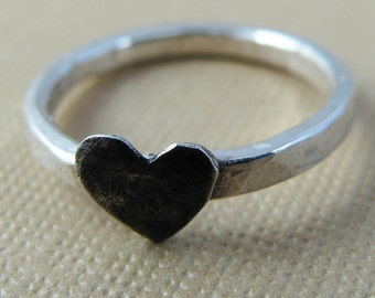 Black Heart Ring - Sterling Silver