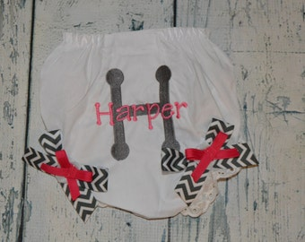 Personalized  BLOOMER Diaper Cover with Chevron Bows monogrammed baby girl gift