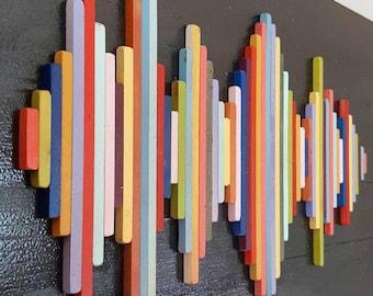 Custom Wood Soundwave Wall Art - Wood Wall Art - Rainbow- Soundwave Art - Anniversary Gift - Hospitality Art - Hotel Art