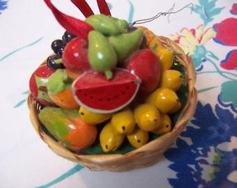 tiny basket of fruit ornament