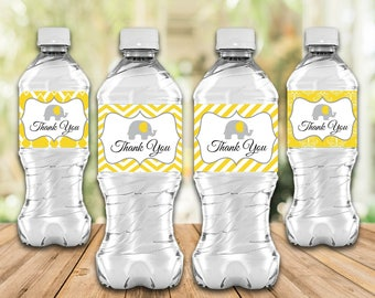 Water Bottle Labels, Thank You, Party Labels, Yellow, Elephant, Party Supplies, Party Favors, 4 Designs Printable, Instant Download T445A