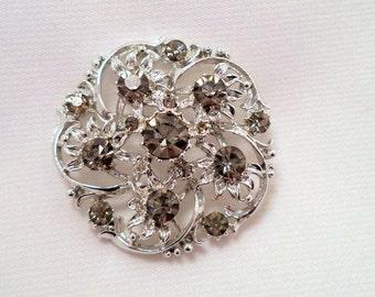 Sparkly Grey AB Rhinestone Brooch Pin Silver Tone Setting