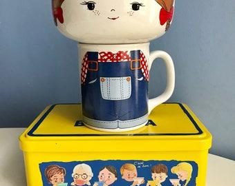 Little Girl Face. Breakfast Ceramic Set, Bowl and Mug. Dungarees.