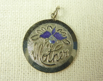 "Vintage Sterling and Enamel ""Mother"" Charm"