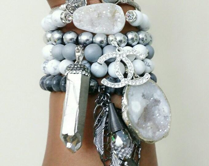 Designer Inspired White Howlite Stone, Iris Agate, Silver Hematite Ladies 6 piece Stone Bracelet Stack, druzy stone, anniversary gifts