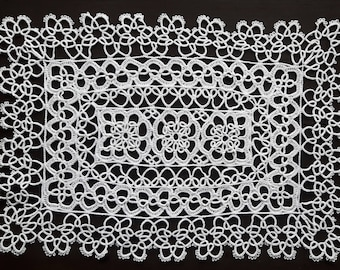 White vintage rectangle handmade doily 34 cm x 23.5 cm / 13.4 inch x 9.3 inch