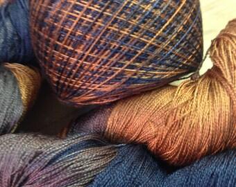 Silk yarn, lace weight yarn, hand dyed yarn, weaving yarn, dyed yarn, hand dyed silk yarn, lace yarn, atisan yarn, lace silk yarn