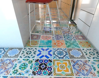 Spanish Tiles - Flooring - Floor Tiles - Floor Vinyl - Tile Stickers - Tile Decals - bathroom tile decal - kitchen tiles 32 - SKU:SpTiFl