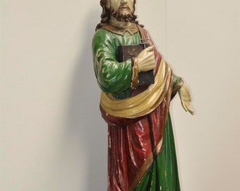 Antique Religious French Statue of St. Peter Hand Carved Wood #5682