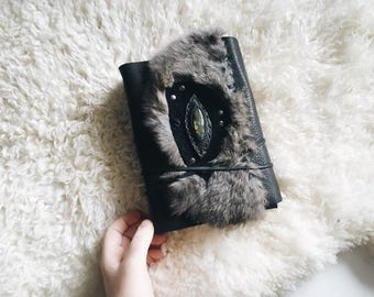 Watercolor Leather Journal with Fur and Labradorite, Gift for Him or Her, Birthday Gift, OOAK Journal, Art Book, Wedding Gift, Black Book