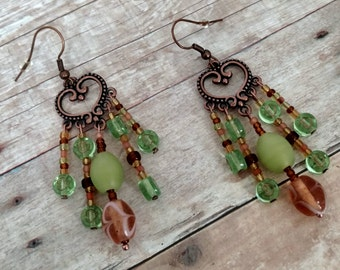 Chandelier earrings | green beaded earrings | dangle earrings | copper earrings | heart earrings | spring color jewelry | mother's day