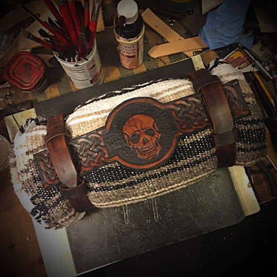 Motorcycle Bed Roll Carrier Skull With Blanket