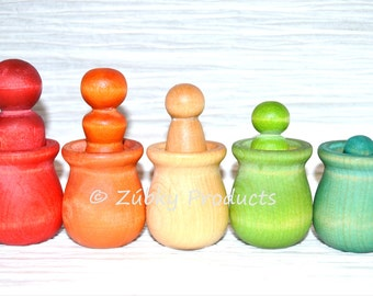 Montessori Toddler Rainbow Peg People Color Matching Stacking Game by Zúbky - Waldorf Game for Children