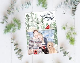 Custom Family illustration, watercolor portrait, Custom illustration,  gift