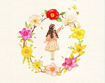 """Hand Printed Fabric,Printed Girl with Flowers Fabric For Cloth Children Fabric ,One Panel 8""""x 8"""" (20cm X 20cm) h78"""