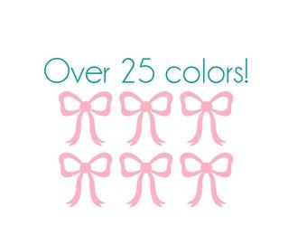 Dainty Bow Nail Decals - Vinyl, Custom choice of color