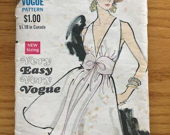 1960's Vogue Sewing Pattern 7568 Misses Sexy Low Cut Short Dress with Belt Size 8  cut- 60's Vogue dress, sexy evening dress, halter dress