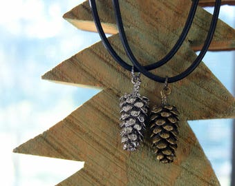 Pine Cone Necklace with Black Leather Cord - Silver or Bronze Pine Cone Pendant