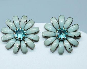 Vintage Blue Flower Earrings, 1950s Floral Enamel Rhinestone Centers