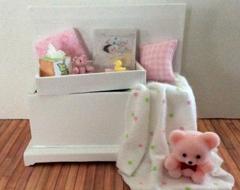 Miniature One Inch Scale Filled Pink and white Baby's Trunk with Bear