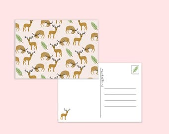 Autumn card with deers