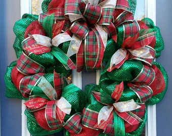 Traditional Christmas green red deco mesh wreath