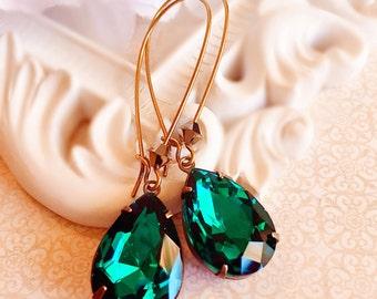 Emerald Earrings - Green Dangle Earrings - Teardrop Earrings - Bridesmaids Earrings - May Birthdatone - SOMERSET Emerald
